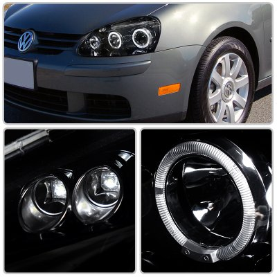 VW Rabbit 2006-2008 Smoked Halo Projector Headlights with LED