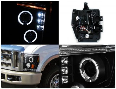 Ford F350 Super Duty 2008-2010 Black Dual Halo Projector Headlights with LED