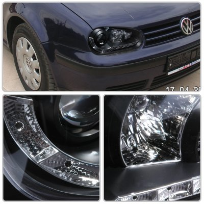 VW Golf 1999-2005 Black Projector Headlights with LED Daytime Running Lights