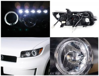 Scion xB 2008-2010 Black Halo Projector Headlights with LED