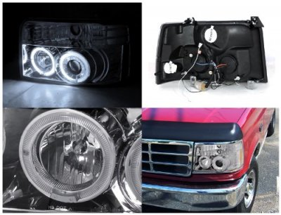 Ford F150 1992-1996 Clear Dual Halo Projector Headlights