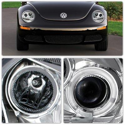 VW Beetle 1998-2005 Clear Halo Projector Headlights