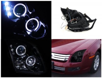 Ford Fusion 2006-2009 Smoked Halo Projector Headlights LED