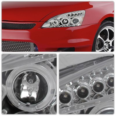 Honda Accord 2003-2007 Clear Halo Projector Headlights with LED
