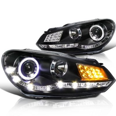 VW Golf 2009-2012 Black Projector Headlights Halo LED DRL Signal