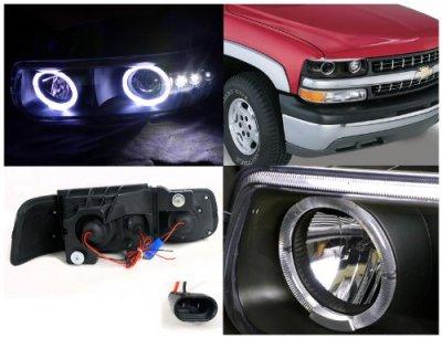 Chevy Silverado 1999-2002 Projector Headlights Black Halo LED
