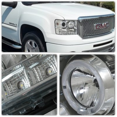 Gmc Sierra 2500hd 2007 2017 Chrome Projector Headlights Halo Led Drl