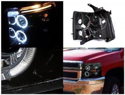 Chevy Silverado 2500HD 2007-2014 Smoked Halo Projector Headlights LED Eyebrow
