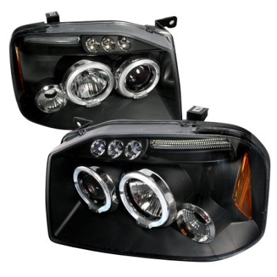 Nissan Frontier 2001-2004 Black Dual Halo Projector Headlights with LED