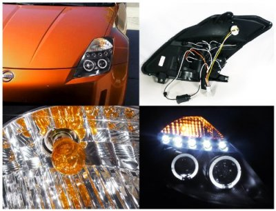 Nissan 350Z 2003-2005 Black Halo Projector Headlights with LED
