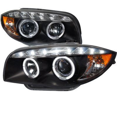 BMW E87 1 Series 2008-2011 Black Halo Projector Headlights with LED