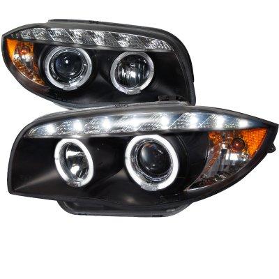 BMW 128i 2008-2013 E82 E88 Black Halo Projector Headlights with LED