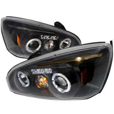 Chevy Malibu 2004-2007 Black Dual Halo Projector Headlights with LED