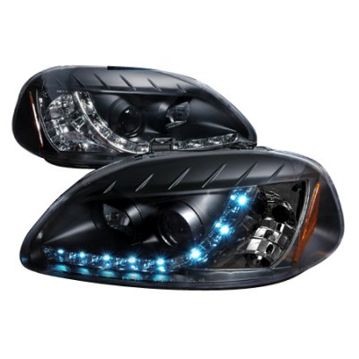 Honda Civic 1996-1998 Black Projector Headlights with LED Daytime Running Lights