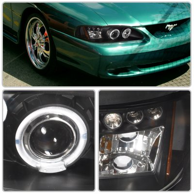 1994 Ford Mustang Black Halo Projector Headlights with LED