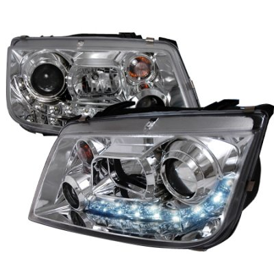 VW Jetta 1999-2004 Clear Projector Headlights with LED Daytime Running Lights
