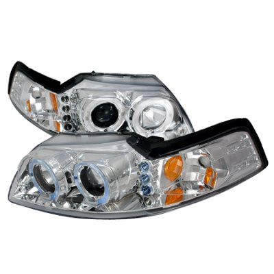 Ford Mustang 1999-2004 Clear Dual Halo Projector Headlights with LED