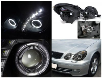 2005 Lexus GS300 Black Projector Headlights Halo LED DRL