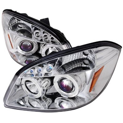 Chevy Cobalt 2005-2010 Clear Halo Projector Headlights with LED