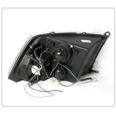Dodge Ram 2500 2010-2016 Black Dual Halo Projector Headlights with LED