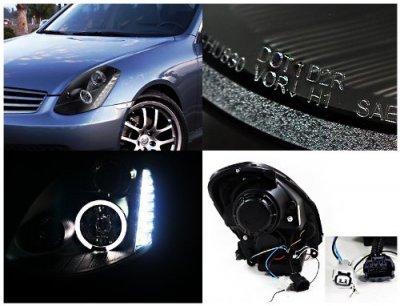 Infiniti G35 Sedan 2005-2006 Black Projector Headlights Halo LED DRL