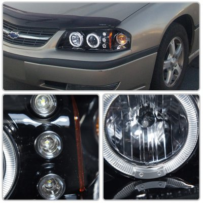 Chevy Impala 2000 2005 Smoked Dual Halo Projector Headlights With Led