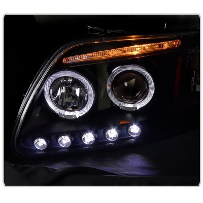 Ford F150 1997-2003 Black Halo Projector Headlights with LED Eyebrow