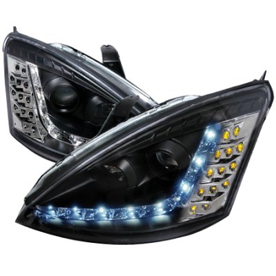 Ford Focus 2000-2004 Black Projector Headlights with LED Daytime Running Lights