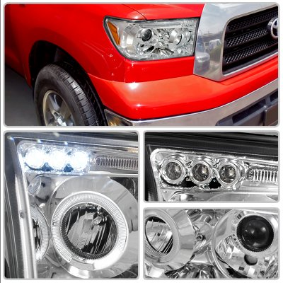 Toyota Sequoia 2008-2015 Clear Dual Halo Projector Headlights with LED