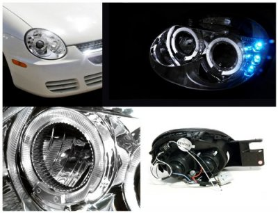 Dodge Neon SRT-4 2003-2005 Clear Dual Halo Projector Headlights with LED