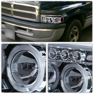 Dodge Ram 1994-2001 Clear LED Eyebrow Projector Headlights with Halo