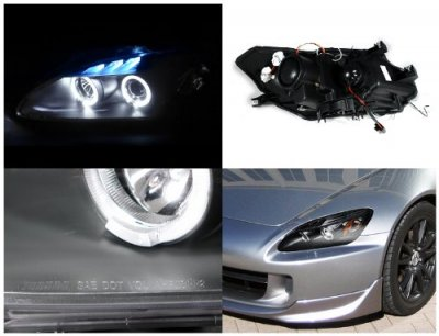 2004 Honda S2000 Black Halo Projector Headlights with LED
