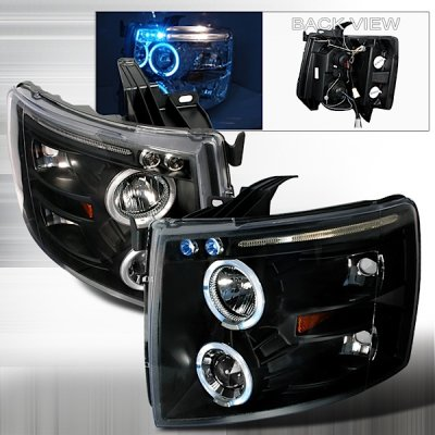 Chevy Silverado 2007-2013 Black Halo Projector Headlights with LED Eyebrow