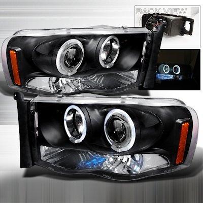 Dodge Ram 3500 2003-2005 Black Dual Halo Projector Headlights with LED
