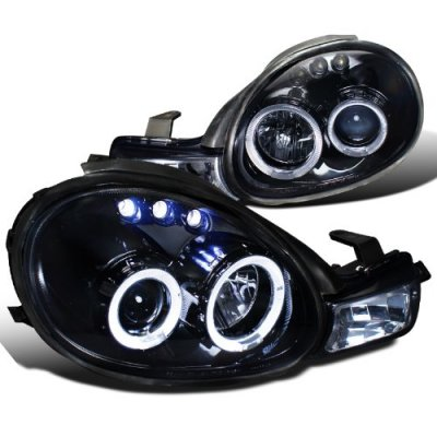 Dodge Neon 2000-2002 Smoked Halo Projector Headlights with LED