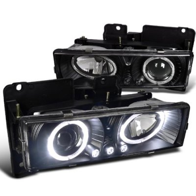 Chevy 2500 Pickup 1988-1998 Black Projector Headlights with Halo and LED