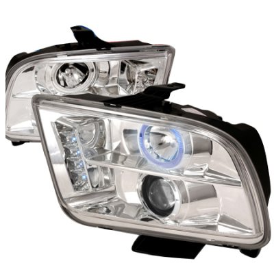 Ford Mustang 2005-2009 Clear Halo Projector Headlights with LED