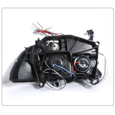 Dodge Dakota 1997-2004 Black Dual Halo Projector Headlights with LED