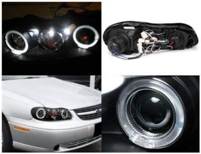 Chevy Malibu 1997 2003 Black Dual Halo Projector Headlights With Led