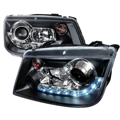 2002 VW Jetta Black Projector Headlights with LED Daytime Running Lights
