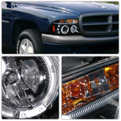 Dodge Durango 1998 2003 Smoked Halo Projector Headlights With Led