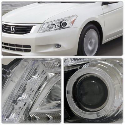 Honda Accord Sedan 2008-2012 Halo Projector Headlights LED DRL Chrome