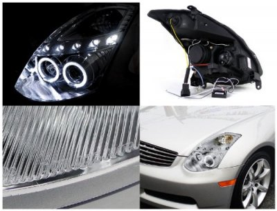 Infiniti G35 Coupe 2003-2007 Clear Halo Projector Headlights with LED