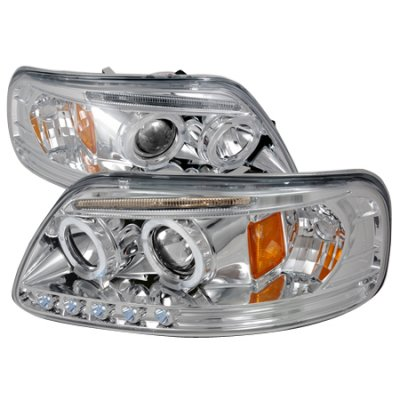 Ford F150 1997-2003 Clear Halo Projector Headlights with LED Eyebrow