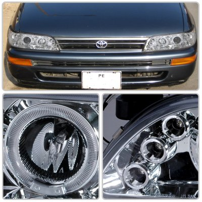 Toyota Corolla 1993 1997 Clear Halo Projector Headlights With Led