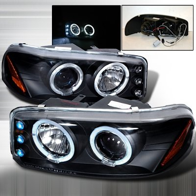 GMC Yukon Denali 2001-2006 Black Halo Projector Headlights with LED