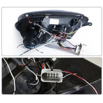 VW Rabbit 2006-2008 Black Halo Projector Headlights with LED