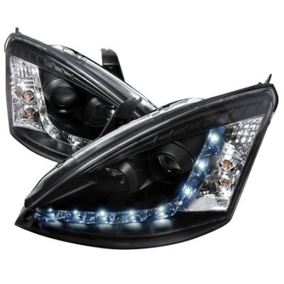 Ford Focus 2000-2004 Black Clear Projector Headlights with LED Daytime Running Lights