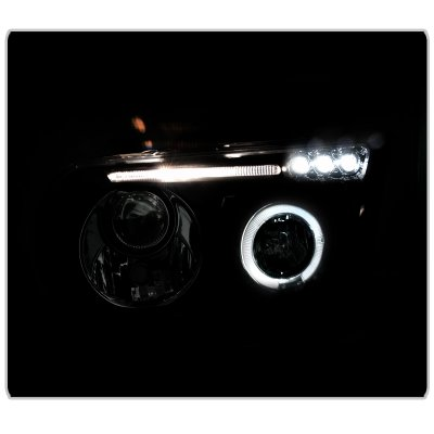 Toyota Tundra 2007-2013 Black Projector Headlights with LED Eyebrow