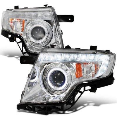Ford Edge 2007 2010 Chrome Projector Headlights Halo Led